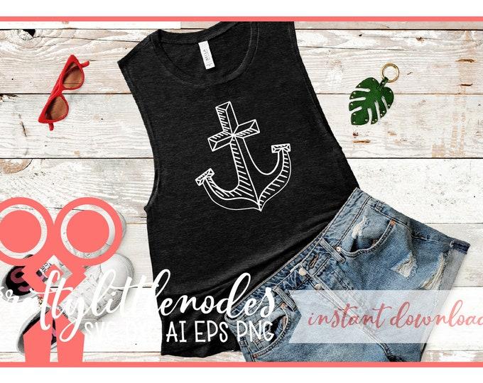 SVG, Anchor, Hand Drawn, Shirt Design, DXF, Ai, Eps, PNG, Wedding, Nautical, Fisherman, Captain, Ship, Anchor Shirt, Anchor Design, Drawing