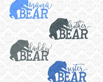 Mama Daddy Papa Sister Brother Bear Shirt Designs SVG STUDIO Ai EPS Scalable Vector Instant Download Commercial use cricut silhouette