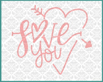 CLN0657 Love You Hand Lettered Drawn Anniversary Wedding SVG DXF Ai Eps PNG Vector Instant Download Commercial Cut File Cricut Silhouette