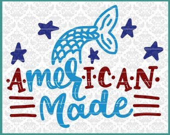 CLN0587 American Made Mermaid USA 4th Of July Memorial Swim SVG DxF Ai Eps PNG Vector Instant Download Commercial Cut File Cricut SIlhouette