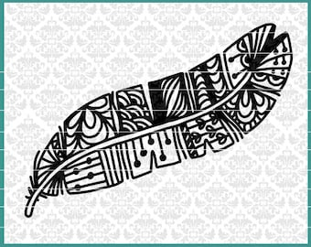 CLN0457 Zentangle Feather Hand Drawn Doodle Fancy Intricate SVG DXF Ai Eps PNG Vector Instant Download Commercial Cut File Cricut SIlhouette