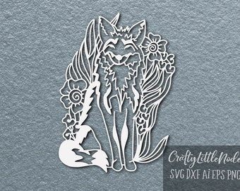Paper Cut, Template, Svg, Fox, Cutting File, Intricate, Hand Drawn, Nature, Adventure, Summer, Cricut, Silhouette, Commercial Use, Design