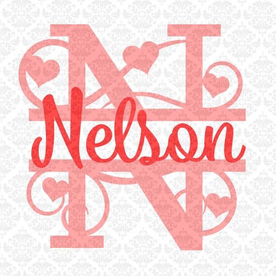Heart Swirly Fancy Valentines Split Alphabet Monogram Svg Ai Etsy