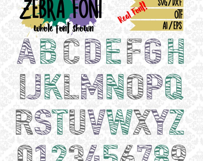 Zebra Print Craft Friendly Font Zebratastic OTF SVG DXF Ai Eps Scalable Vector Instant Download Commercial Cutting File Cricut Silhouette