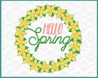 CLN0214 Flower Boquet Daisy Spring Time Hello monogram SVG DXF Ai Eps PNG Vector Instant Download Commercial Cut File Cricut Silhouette