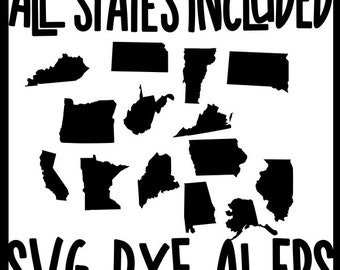 USA America United States All Each Every 50 States Set SVG DXF Ai Eps Vector Instant Download Commercial Use Cutting File Cricut Silhouette