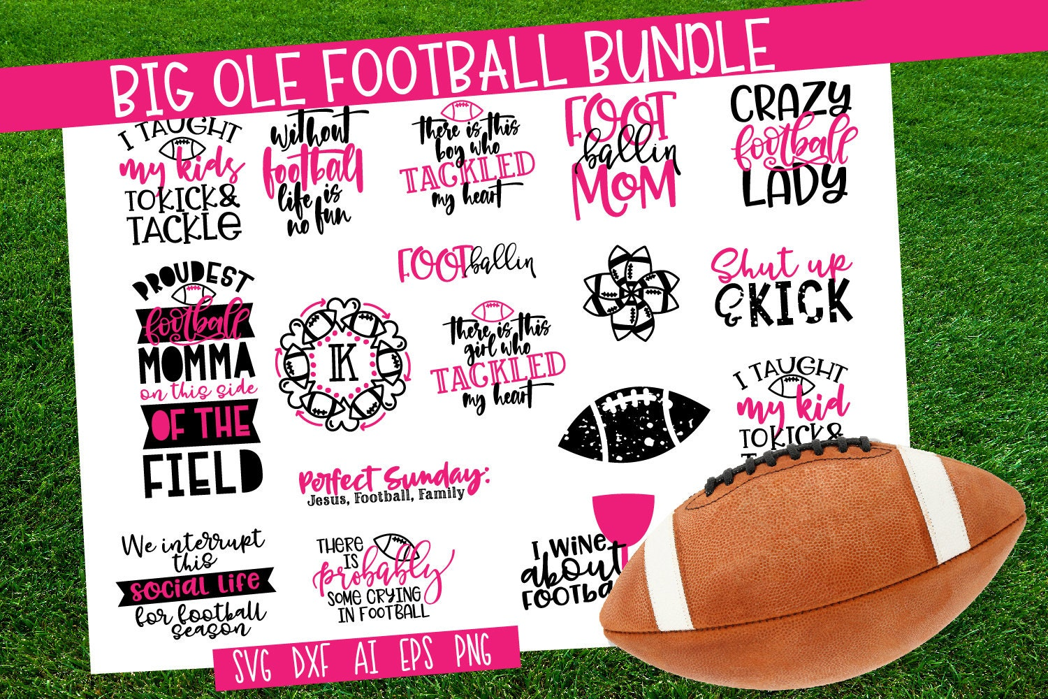 Bundle Football Svg Cutting File Cricut Silhouette Dxf Etsy