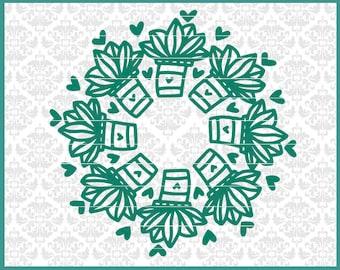 CLN0624 Succulent Pot Mandala Hearts Summer Cactus Spring SVG DXF Ai Eps PNG Vector Instant Download Commercial Cut File Cricut Silhouette