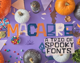Macabre, Font Trio, Font Bundle, Halloween, Font, Spooky, Craft, Hand Drawn, , Fonts, Font With Extras, Glyphs, PUA, Spider Web, Outlined