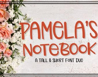Pamela's Notebook, Font, Duo, Hand Written, Hand Lettered, Simple, Sans Serif, Font Bundle, Discount, Typeface, Cutting, Silhouette, Cricut