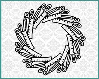 CLN0610 School Supplies Mandala Teacher Student Monogram SVG DXF Ai Eps PNG Vector Instant Download Commercial Cut File Cricut Silhouette