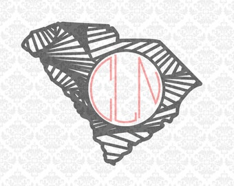 South Carolina Zentangle Filigree Home Monogram SVG STUDIO DXF Ai Eps Scalable Vector Instant Download Commercial use Cricut Silhouette