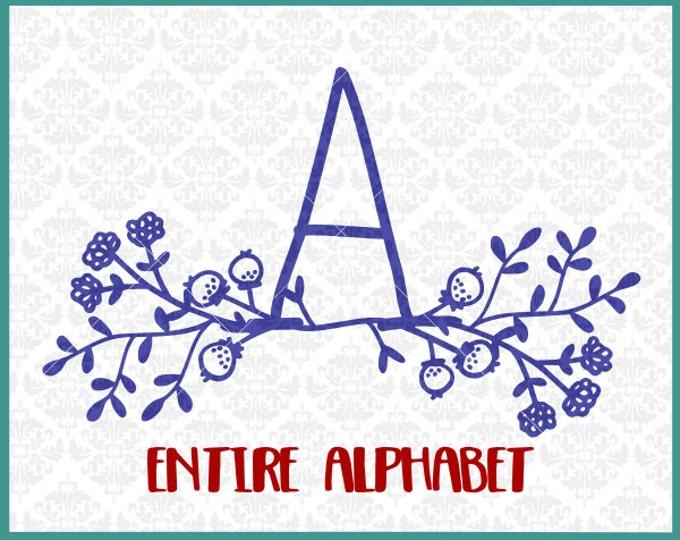 CLN0311 Floral Alphabet Monogram Mail Box Front Door Full SVG DXF Ai Eps PNG Vector Instant Download Commercial Cut File Cricut Silhouette
