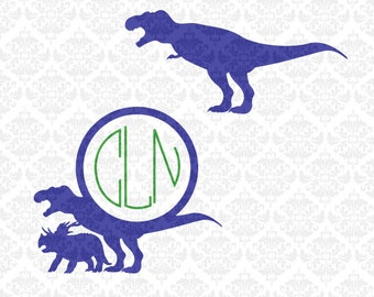 Dinosaur Tyrannosaurus Triceratops Monogram Dino SVG DXF STUDIO ai eps png scalable vector instant download commercial use cutting file