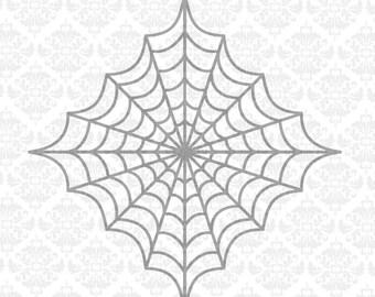 Spider Web Cobweb Cob Halloween Spider Split Monogram SVG DXF Ai Eps PNG Vector Instant Download Commercial Cut File Cricut Silhouette