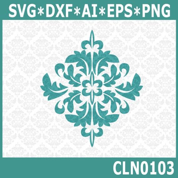 Cln0103 Damask Leafy Frame Leaf Fancy Svg Dxf Ai Eps Png Etsy