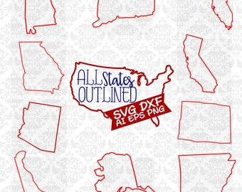 All States Outlined svg, Outlined State Svg, 50 State Svg, Outlined state svg, America svg, State Pack Svg, State Outlined Svg, Cutting FIle