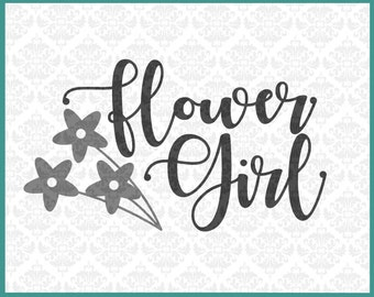 CLN0222 Flower Girl Bridal Party Wedding Engagement Bride Groom SVG DXF Ai Eps PNG Vector Instant Download Commercial Use Cricut Silhouette