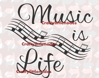 Music Is Life SVG STUDIO Ai EPS Musical Notes Scalable Vector Art Instant Download COmmercial  Cutting FIle Cricut Explore Silhouette Cameo