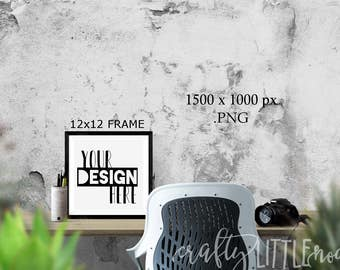 DIGITAL MOCKUP 12x12 Blank Frame Styled Stock Photo Photography Camera Art Printable Blanks Empty PNG Transparent Picture Desk Stylized