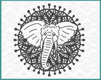 CLN0361 Elephant Mandala Boho Hand Drawn Zentangle Filigree SVG DXF Ai Eps PNG Vector Instant Download Commercial Cut File Cricut Silhouette