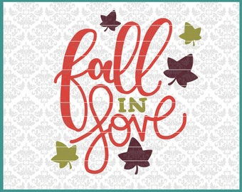 CLN0615 Fall In Love Leaves Autumn Football Shirt Design SVG DXF Ai Eps PNG Vector Instant Download Commercial Cut File Cricut Silhouette