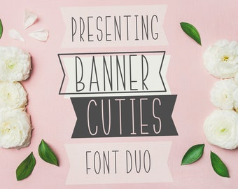 Banner Cuties, Font, OTf, TTF, Woff, Duo, Bundle, Banner Font, Typeface, Commercial Use, Cricut Fonts, Silhouette Fonts, Fonts For Cutting
