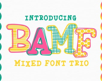 OTF, TTF, font, Hand Drawn, Layered, Alphabet, Design, SVG, Bamf, Typeface, Layerable, Outline, Scribble, Patterned, Hand Lettered, Monogram