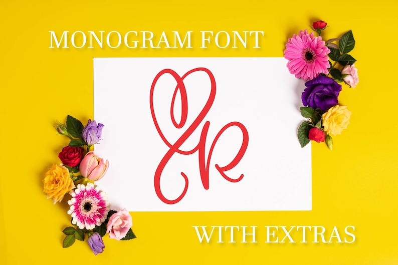 CLN - Monogram Heart Font - Hand Lettered Writing Written - Commercial Use  - Cricut Silhouette Fonts - Extras - Bonus - Dingbat