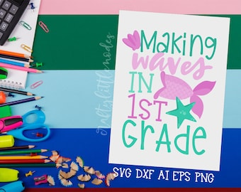 MERMAID Back to School, Bundle, Svg, 1st Grade, First Grade, First Day, Mermaid Tail, Shirt, Commercial, Cutting File, Cricut, Silhouette
