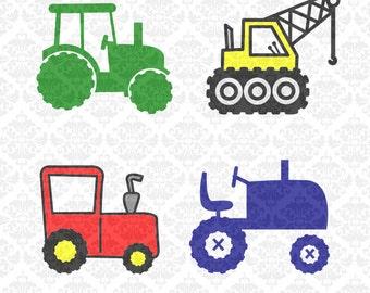 Tractor Crane Kids Farmer Newborn  Construction SVG STUDIO Ai EPS Scalable Vector Instant Download Commercial Use Cricut Silhouette