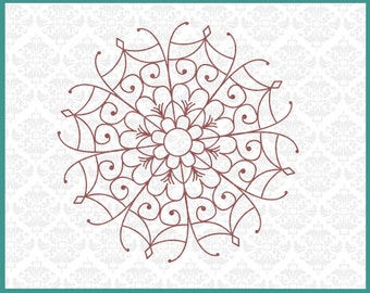 CLN0236 Flower Mandala Intricate French Zentangle Paisley SVG DXF Ai Eps PNG Vector Instant Download Commercial Cut File Cricut Silhouette