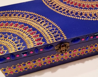 Blue, Pink and Gold Jewelry Box
