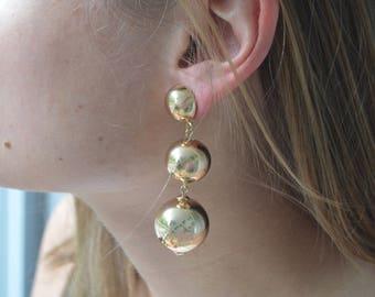 Gold Metal 2 Ball BonBon Earrings