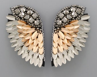 3c40aac34 Rose Gold & Silver Sequin Wings Statement Earrings