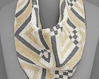 Ivory, Beige and Gray Square Pattern Beaded Scarf Necklace