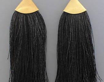 Long Thread Fringe Earrings