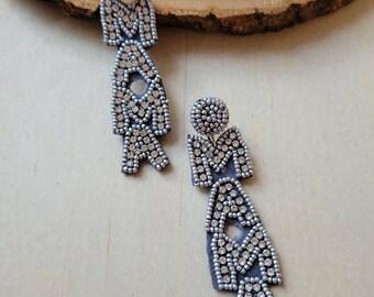 Gray Mama Felt Beaded Earrings