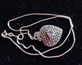 Heart Purple Stone Valentine Necklace Marcasite Amethyst Pendent  Sterling
