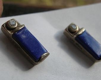 Earrings Native American Artisan Mexican Sterling Silver Blue Lapis Diamond ANKA Vintage