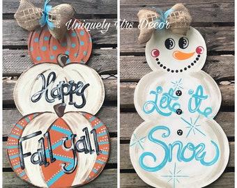 double sided fallwinter door hanger door hanger pumpkin door hanger snowman door hanger