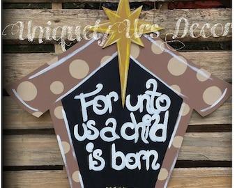 Manger Scene Door Hanger, Christmas Door Hanger, Door Hanger