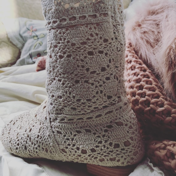Crocheted Lace Wedding Boots Beach Wedding Country