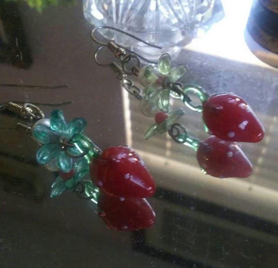 Glass Strawberry Earrings Chandelier Earrings Stra