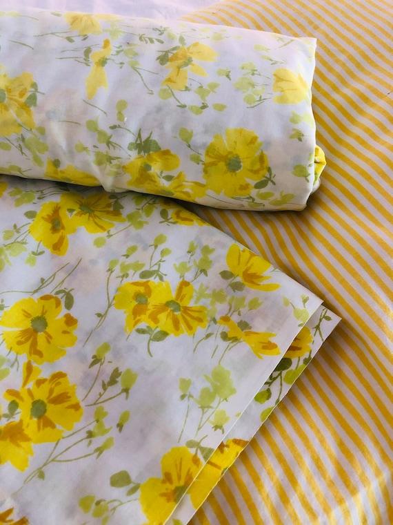 Sunshine Yellow Flowered Flat Sheet