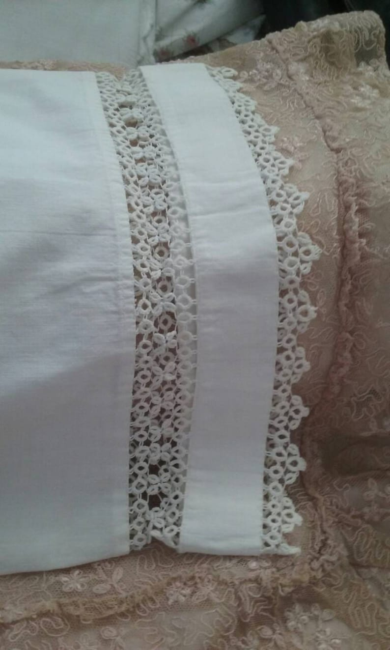 Antique Lace Baby Pillowcases 16X11 Tatted Handmade Lace Edwardian Lace Baby Pillows Baby Shams Bassinet Linens Shabby Chic Baby Keepsake