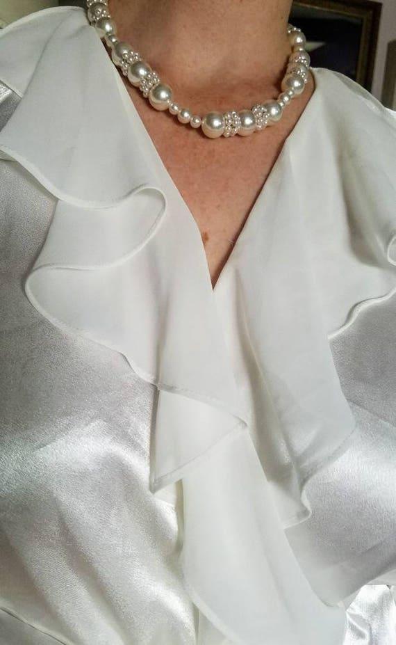 Chiffon Robe Oscar de la Renta Bridal Robe M White