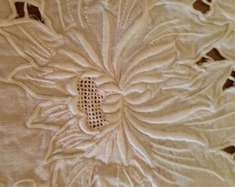 Stunning Linen Tablecloth With Gorious Cut Lace and Embroidered LARGE Holiday Community Table Family Tablecloth Dining Alfresco White Lace