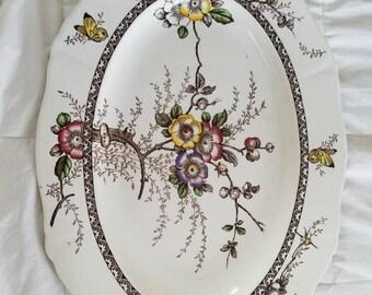 Ironstone Transferware Platter Easter Platter Farmhouse Vintage Serving Platter Meakin Thanksgiving Platter Traditional Table Hostess Gift