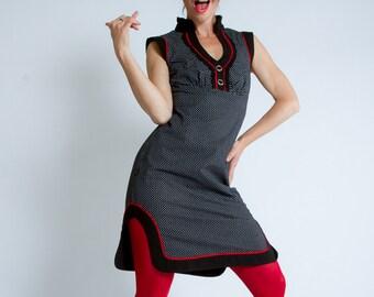 Polka Dots Tunic Dress//Black and white Retro Vintage Robe//Pin Up//Rockabilly//Working Girl//Cheongsam Inspired//KUMALON Dots//MIMISAN
